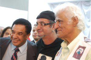 Cantor Agnaldo Timóteo e os cartunistas Edra e Ziraldo (foto: Arquivo)
