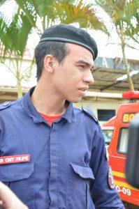 Bombeiro Filipe ajudou no socorro às vítimas