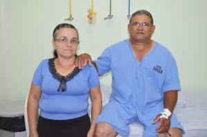 Sebastião Donato Rodrigues, 58, e a esposa Maria Chagas Herculano. Sebastião sofria de hérnia umbilical