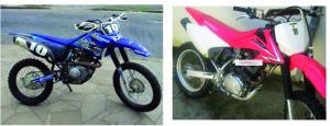 As motos furtadas são usadas para fazer trilha (fotos: Rede Social)