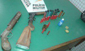 Armas e munições apreendidas pela PM