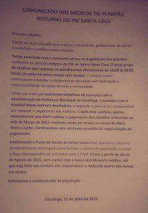 Comunicado emitido pelos médicos na última sexta-feira (31)