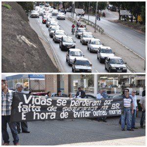 Moradores dos bairros Esplanada e Santa Zita se manifestaram com faixas e carreata
