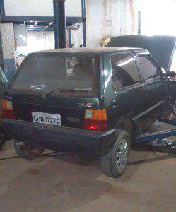Carro foi encontrado em uma oficina mecânica no Bairro Zacarias