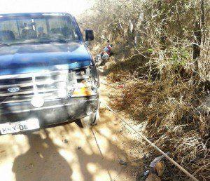 Acidente foi registrado na estrada vicinal do Córrego Goiás, zona rural de Ipanema (foto: Geraldo Fotógrafo/Ipanews)