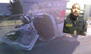 O carro de Deir ficou com a frente totalmente destruída (foto: The Brazilian Times)