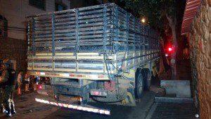 Caminhão onde eram transportados os animais