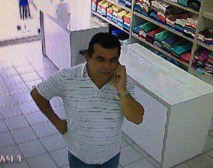 Imagens do suspeito foram registradas pelas câmeras de monitoramento