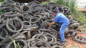 Servidores municipais trabalham na retirada dos pneus do Parque de Exposições