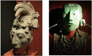 Escultura original em estuque da cabeça do rei Pakal o Grande. Máscara mortuária, em jade, encontrada em 1952 no sarcófago deste governante em uma galeria subterrânea do Templo das Inscrições, em Palanque. Museu Nacional de Antropologia do México.