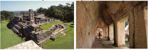 Vista sudoeste do Palácio de Palenque a partir do Templo das Inscrições. Detalhe do arco contínuo e colunas que compõem o corredor da fachada do prédio