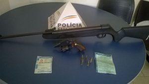 Armas apreendidas pela Polícia Rodoviária Estadual