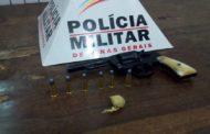Revólver, munições e bucha de maconha recolhidos no Esperança